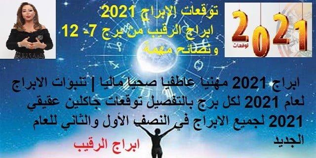 توقعات الابراج 2021 ابراج الرقيب من برج 7- 12 ونصائح مهمة | ابراج 2021 مهنيا عاطفيا صحيا ماليا | تنبؤات الابراج لعام 2021 لكل برج بالتفصيل