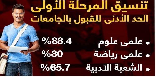 تنسيق الجامعات مصر   تنسيق المرحلة الأولى.. 88.4% علمى علوم و65.7 للشعبة الأدبية و80% علمى رياضة
